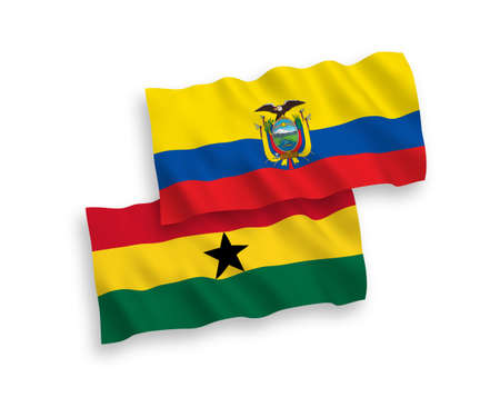 National vector fabric wave flags of Ghana and Ecuador isolated on white background. 1 to 2 proportion.