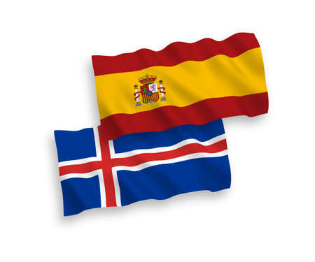 National vector fabric wave flags of Iceland and Spain isolated on white background. 1 to 2 proportion.