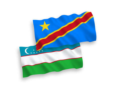 National vector fabric wave flags of Uzbekistan and Democratic Republic of the Congo isolated on white background. 1 to 2 proportion.