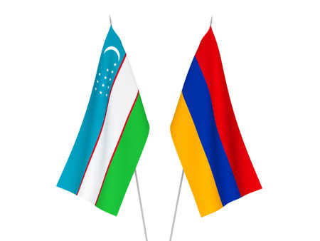 National fabric flags of Uzbekistan and Armenia isolated on white background. 3d rendering illustration.