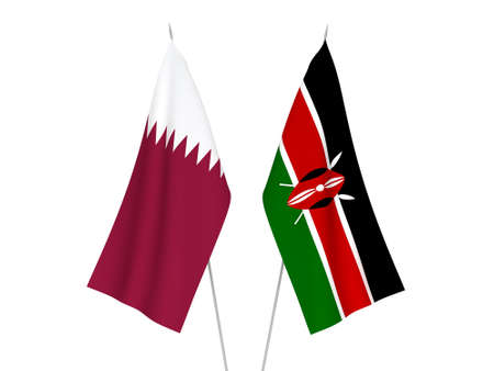 National fabric flags of Kenya and Qatar isolated on white background. 3d rendering illustration.