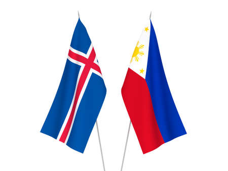 National fabric flags of Philippines and Iceland isolated on white background. 3d rendering illustration.