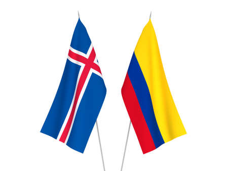 National fabric flags of Colombia and Iceland isolated on white background. 3d rendering illustration.