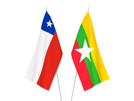 National fabric flags of Myanmar and Chile isolated on white background. 3d rendering illustration.