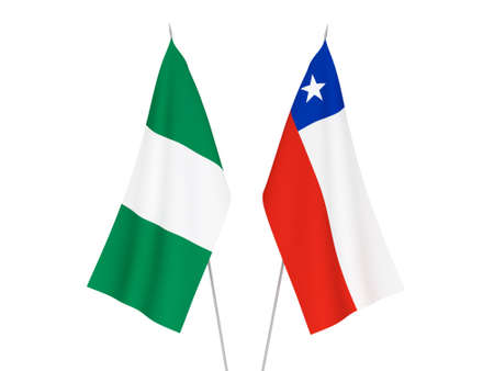 National fabric flags of Nigeria and Chile isolated on white background. 3d rendering illustration. 免版税图像