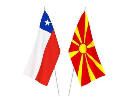 National fabric flags of North Macedonia and Chile isolated on white background. 3d rendering illustration.