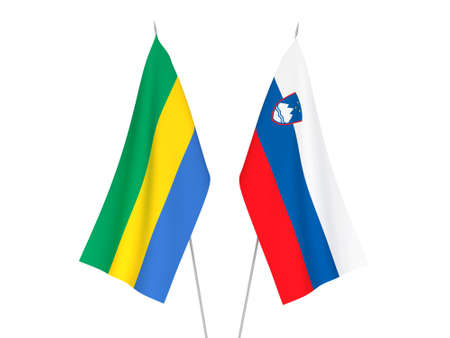 National fabric flags of Slovenia and Gabon isolated on white background. 3d rendering illustration.