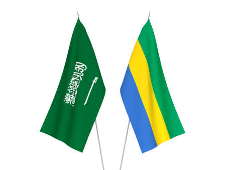 National fabric flags of Saudi Arabia and Gabon isolated on white background. 3d rendering illustration.