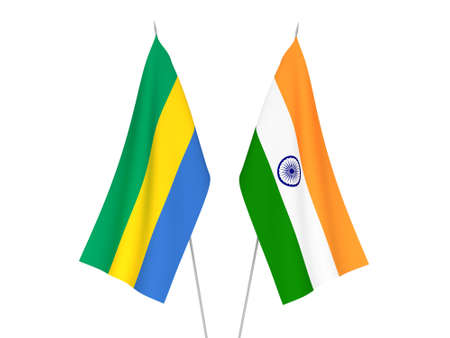 National fabric flags of India and Gabon isolated on white background. 3d rendering illustration.