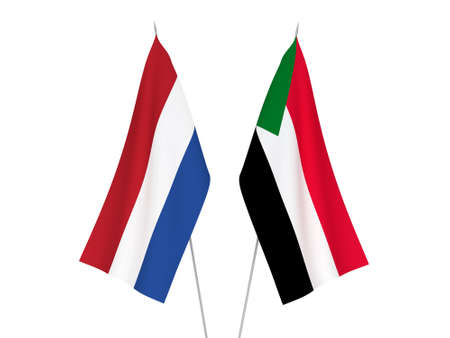 National fabric flags of Netherlands and Sudan isolated on white background. 3d rendering illustration.