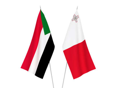 National fabric flags of Sudan and Malta isolated on white background. 3d rendering illustration.