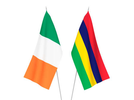 National fabric flags of Ireland and Republic of Mauritius isolated on white background. 3d rendering illustration. 免版税图像