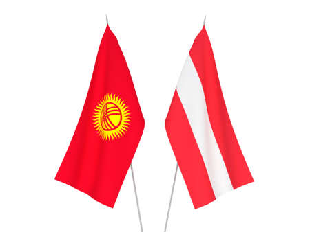 National fabric flags of Kyrgyzstan and Austria isolated on white background. 3d rendering illustration.