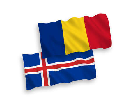 National vector fabric wave flags of Romania and Iceland isolated on white background. 1 to 2 proportion. Ilustracja