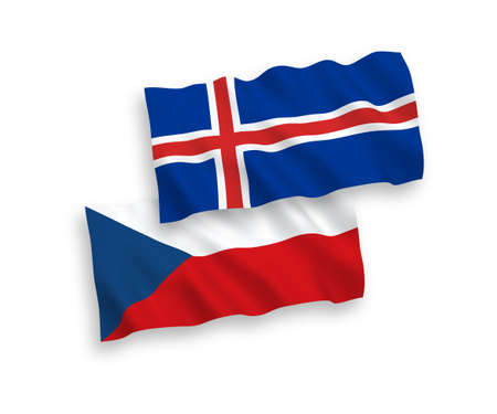 National vector fabric wave flags of Czech Republic and Iceland isolated on white background. 1 to 2 proportion. Ilustrace