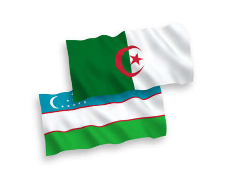 National vector fabric wave flags of Uzbekistan and Algeria isolated on white background. 1 to 2 proportion.