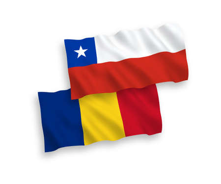 National vector fabric wave flags of Romania and Chile isolated on white background. 1 to 2 proportion.
