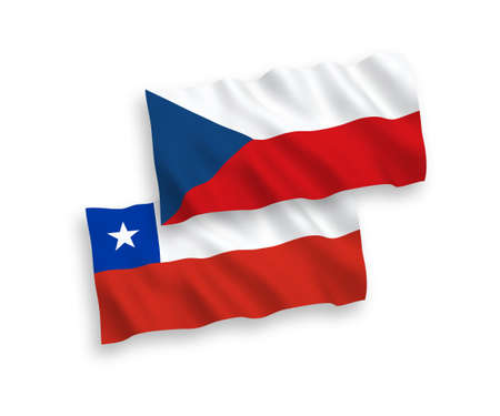 National vector fabric wave flags of Czech Republic and Chile isolated on white background. 1 to 2 proportion.