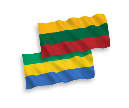 National vector fabric wave flags of Lithuania and Gabon isolated on white background. 1 to 2 proportion.