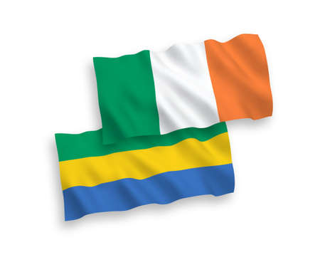 National vector fabric wave flags of Ireland and Gabon isolated on white background. 1 to 2 proportion.