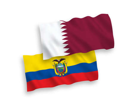 National vector fabric wave flags of Qatar and Ecuador isolated on white background. 1 to 2 proportion. Illustration