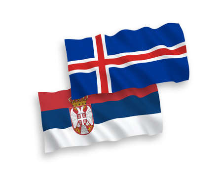 National vector fabric wave flags of Iceland and Serbia isolated on white background. 1 to 2 proportion.