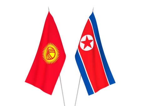 National fabric flags of Kyrgyzstan and North Korea isolated on white background. 3d rendering illustration.