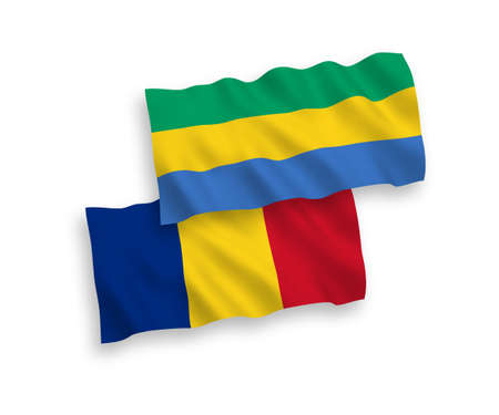 National vector fabric wave flags of Romania and Gabon isolated on white background. 1 to 2 proportion. Ilustracja