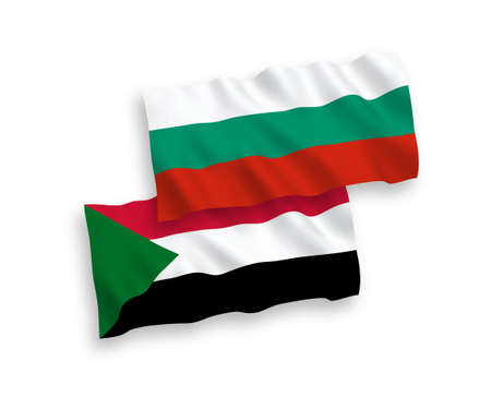 National vector fabric wave flags of Bulgaria and Sudan isolated on white background. 1 to 2 proportion.