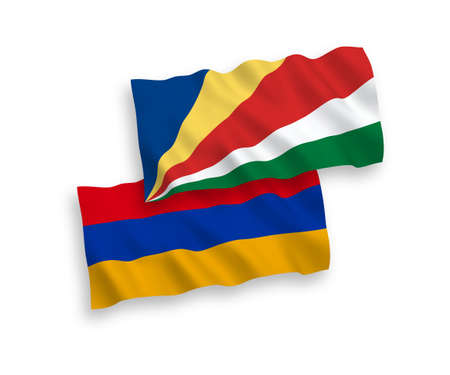 National vector fabric wave flags of Armenia and Seychelles isolated on white background. 1 to 2 proportion.