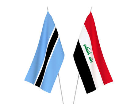 National fabric flags of Iraq and Botswana isolated on white background. 3d rendering illustration. Zdjęcie Seryjne