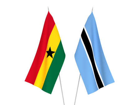 National fabric flags of Ghana and Botswana isolated on white background. 3d rendering illustration. Zdjęcie Seryjne