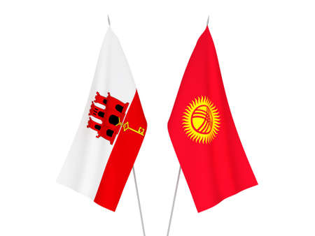 National fabric flags of Gibraltar and Kyrgyzstan isolated on white background. 3d rendering illustration.