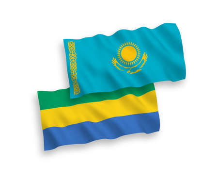 National vector fabric wave flags of Kazakhstan and Gabon isolated on white background. 1 to 2 proportion.