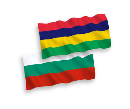 National vector fabric wave flags of Bulgaria and Mauritius isolated on white background. 1 to 2 proportion.