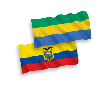 National vector fabric wave flags of Gabon and Ecuador isolated on white background. 1 to 2 proportion.