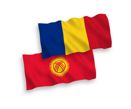 National vector fabric wave flags of Romania and Kyrgyzstan isolated on white background. 1 to 2 proportion.