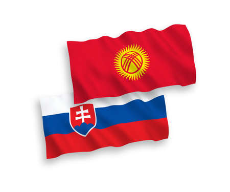 National vector fabric wave flags of Slovakia and Kyrgyzstan isolated on white background. 1 to 2 proportion.