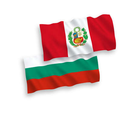 National vector fabric wave flags of Bulgaria and Peru isolated on white background. 1 to 2 proportion.