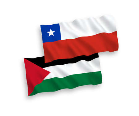 National vector fabric wave flags of Chile and Palestine isolated on white background. 1 to 2 proportion. Иллюстрация