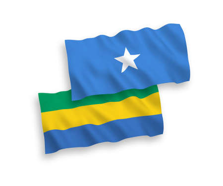 National vector fabric wave flags of Gabon and Somalia isolated on white background. 1 to 2 proportion.