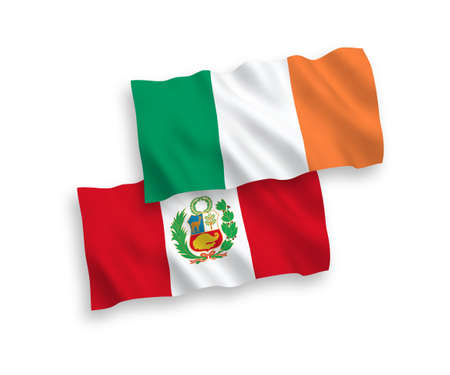 National vector fabric wave flags of Ireland and Peru isolated on white background. 1 to 2 proportion. Vettoriali