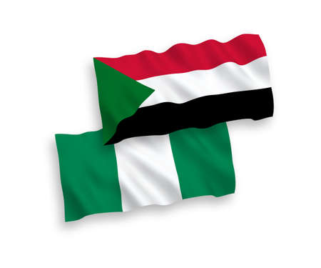 National vector fabric wave flags of Sudan and Nigeria isolated on white background. 1 to 2 proportion. Vetores