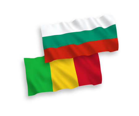 National vector fabric wave flags of Bulgaria and Mali isolated on white background. 1 to 2 proportion.