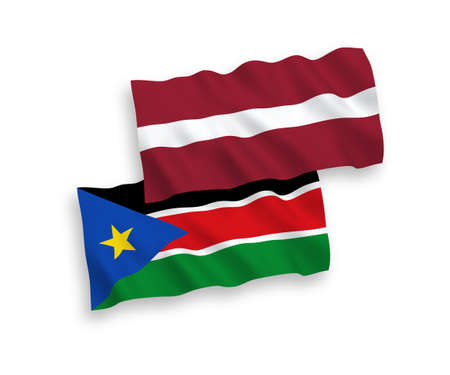 National vector fabric wave flags of Latvia and Republic of South Sudan isolated on white background. 1 to 2 proportion.