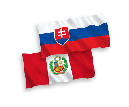 National vector fabric wave flags of Slovakia and Peru isolated on white background. 1 to 2 proportion.
