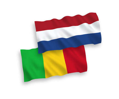 National vector fabric wave flags of Mali and Netherlands isolated on white background. 1 to 2 proportion. Illustration