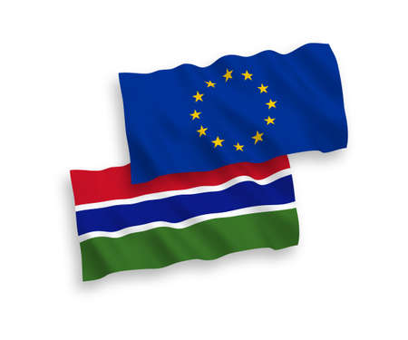National vector fabric wave flags of European Union and Republic of Gambia isolated on white background. 1 to 2 proportion.