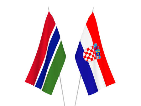 National fabric flags of Croatia and Republic of Gambia isolated on white background. 3d rendering illustration. Standard-Bild