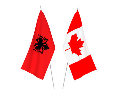 National fabric flags of Albania and Canada isolated on white background. 3d rendering illustration. 版權商用圖片